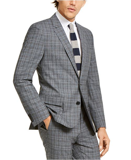 HUGO HUGO Hugo Boss Men's Slim-Fit Stretch Charcoal Plaid Suit Jacket