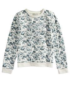GUESS Big Girls Diamond-Print Glitter-Logo Sweatshirt