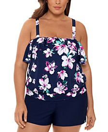 Plus Size Ruffled Tankini Top & Bottoms, Created For Macy's