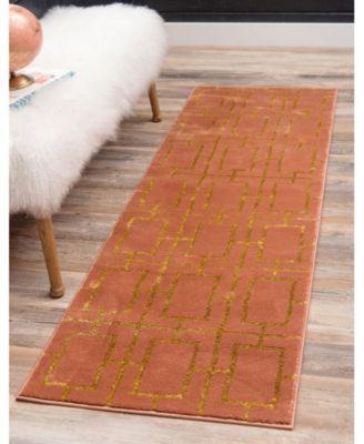 Glam Mmg002 Coral/Gold 2' x 6' Runner Rug