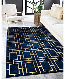 Glam Mmg002 Navy Blue/Gold 9' x 12' Area Rug