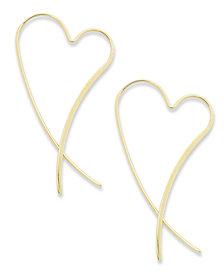 14k Gold Earrings, Heart Crossover Earrings