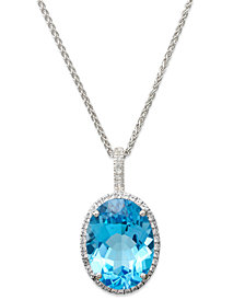 Blue Topaz (20 ct. t.w.) and White Topaz (3/8 ct. t.w.) Large Oval Pendant Necklace in Sterling Silver