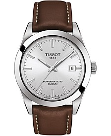 Men's Swiss Automatic T-Classic Gentleman Powermatic 80 Silicium Brown Leather Strap Watch 40mm