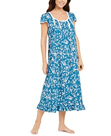 Floral-Print Long Jersey Knit Nightgown