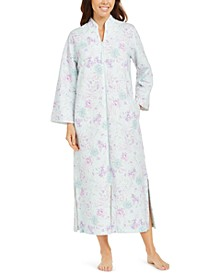 Floral-Print Quilted Zipper Robe