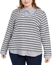 Plus Size Cotton Layered-Look Striped Top