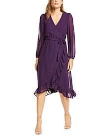 Ruffle Hem Midi Wrap Dress