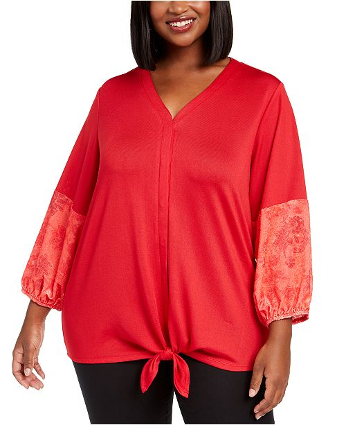 NY Collection Plus Size Contrast-Sleeve Tie-Front Top