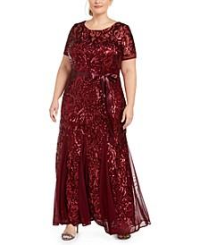 Plus Size Embellished Godet Gown