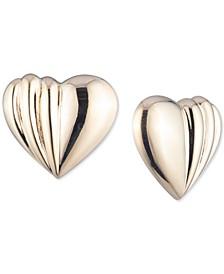 Gold-Tone Heart Button E-Z Comfort Clip-On Earrings