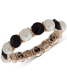 Gold-Tone Stone & Imitation Pearl Stretch Bracelet