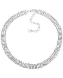 "Silver-Tone Rhinestone Collar Necklace, 16"" + 3"" extender"