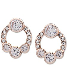 """Rose Gold-Tone Crystal Front-Facing Small Hoop Earrings, .63"""""""
