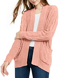 Juniors' Mixed-Knit Chenille Cardigan