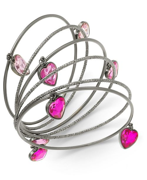 Thalia Sodi Silver-Tone 6-Pc. Set Stone Hearts Bangle Bracelets, Created For Macy's