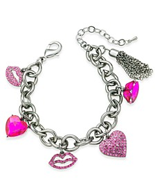 Silver-Tone Crystal Hearts & Lips Charm Bracelet, Created For Macy's