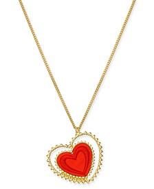 "Gold-Tone Tilted Fabric Heart Pendant Necklace, 17"" + 3"" extender, Created for Macy's"