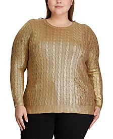 Plus Size Metallic Cable-Knit Sweater