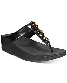 Fino Metallic Fleck Toe-Post Sandals