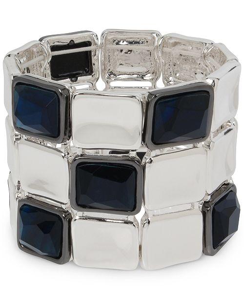 Robert Lee Morris Soho Silver-Tone & Stone Geometric Link Triple-Row Stretch Bracelet