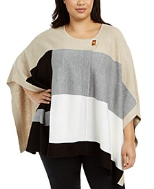 Plus Size Colorblocked Poncho