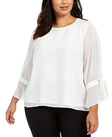 Plus Size Sheer-Sleeve Top