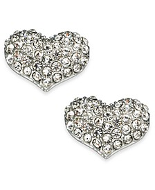 Silver-Tone Pavé Puffy Heart Stud Earrings, Created For Macy's