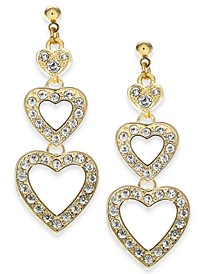 Gold-Tone Crystal Triple Heart Drop Earrings, Created For Macy's