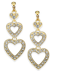 Holiday Lane Gold-Tone Crystal Triple Heart Drop Earrings, Created For Macy's