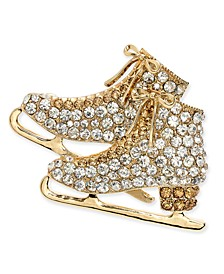 Gold-Tone Crystal Ice Skates Pin, Created for Macy's