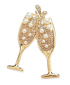 Gold-Tone Crystal & Imitation Pearl Champagne Toast Pin, Created For Macy's