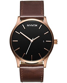 Men's Classic Brown Leather Strap Watch 45mm