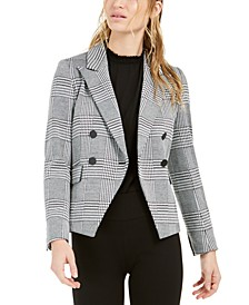 Houndstooth-Print Double-Breasted Jacket, Created For Macy's
