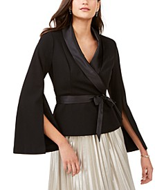 Satin-Trim Belted Tuxedo Top