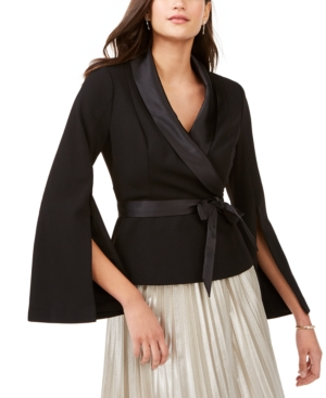 Adrianna Papell Tops SATIN-TRIM BELTED TUXEDO TOP