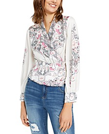 INC Printed Faux-Wrap Top, Created For Macy's