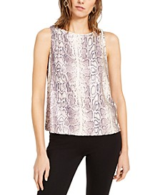 INC Petite Snake-Print Sequined Top, Created for Macy's