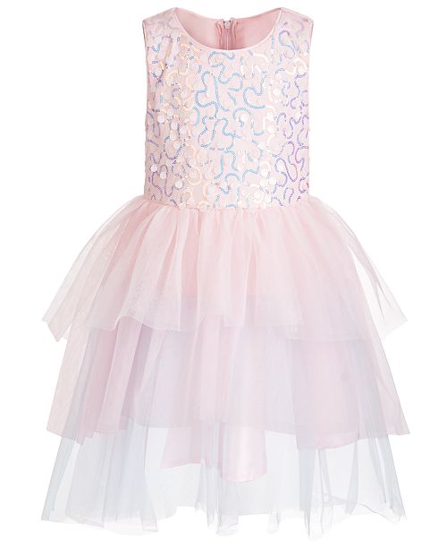 Pink & Violet Toddler Girls Sequin Paillette Tulle Gown