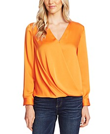 Faux-Wrap Satin Blouse