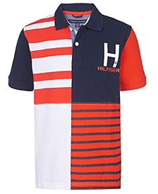 Big Boys Evan Colorblocked Stripe Logo Piqué Polo Shirt
