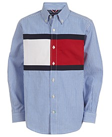 Big Boys Palo Colorblocked Stripe Poplin Shirt