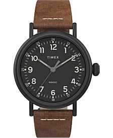 Men's Standard Brown Leather Strap Watch 40mm