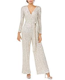 Eliza J Silver Long-Sleeve Jumpsuit