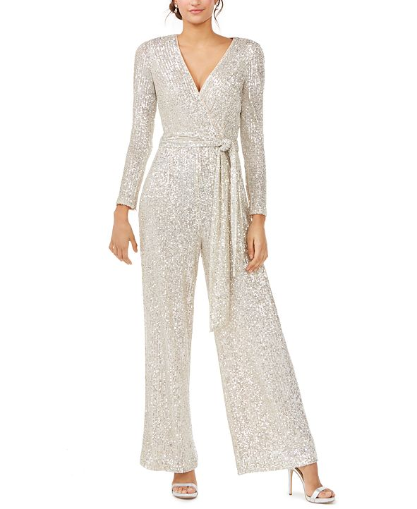 Eliza J Silver Long-Sleeve Jumpsuit