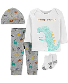 Baby Boys 4-Pc. Cotton Hat, Baby-Saurus Top & Pants & Socks Set