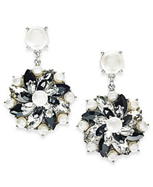 Silver-Tone Crystal, Stone & Imitation Pearl Cluster Stud Drop Earrings, Created For Macy's