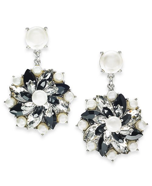 Charter Club Silver-Tone Crystal, Stone & Imitation Pearl Cluster Stud Drop Earrings, Created For Macy's