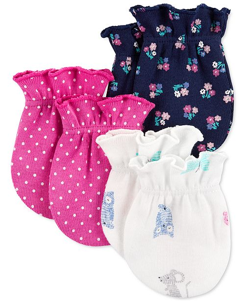 Carter's Baby Girls 3-Pk. Cotton Printed Mitts