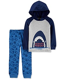 Baby Boys 2-Pc. Cotton Hooded T-Shirt & Shark-Print Pants Set